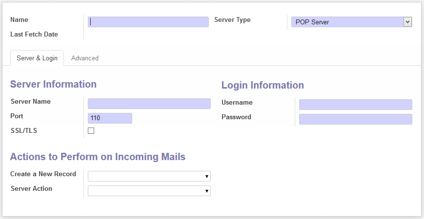 Incoming Mail Server Setup in ODOO